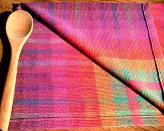 Handwoven Kitchen Towel, Woven Cotlin Towel, Rainbow Plaid, Woven Hand Towel, Woven Dish Towel, Orange Multi, Dish Towel, Fingertip Towel