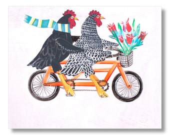 Bertha and Ebenezer - Artwork by Christina Rowe - 8x10 Chicken Art Print - Mangoseed