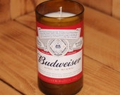 Hand Poured Soy Candle in Handmade Upcycled Budweiser Glass made from a 12oz bottle