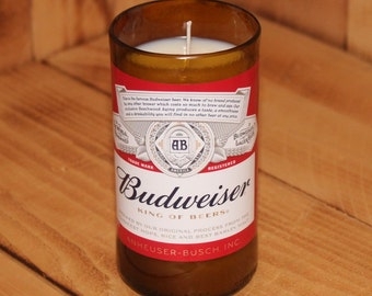 Hand Poured Scented Soy Candle in Handmade Upcycled Budweiser Glass made from a beer bottle