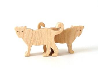 Jaguar Wood Animal Toy Waldorf  Wood Toys Miniature Noah's Ark Animals Children's Toy Zoo Figurines