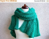 oversize scarf, handknit wrap, green shimmering shawl