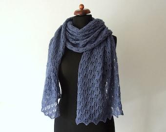 blue lace scarf, handknit, wool and acrylic, denim blue, leaf motif, spring scarf