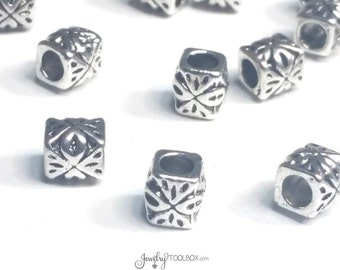 Carved Barrel Beads, Antique Silver Pewter Extra Large Hole Beads, Metal Beads, 6x6mm, 3mm Hole, Lot Size 12 to 50, #1353 BH