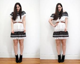 Vintage Mexican Off The Sholder Cold Shoulder Cotton Hippie Mini Dress