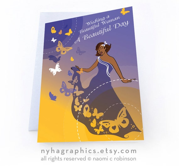 beautiful woman birthday card for women of colour for mum, Birthday card