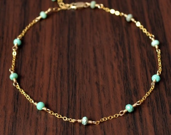 Gold Anklet, Mint Green Chrysoprase Gemstones, Genuine Stone, Gold or Sterling Silver Chain, Dainty Summer Jewelry, Free Shipping