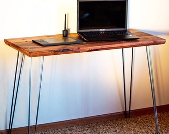 Reclaimed  wood desk modern rustic reclaimed barnwood and hairpin   legs