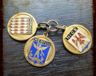 Antique Set of three enamel Medals of French Riviera towns pendant medal - Vintage Jewelry pendant with Nice Monaco Menton coat of arms