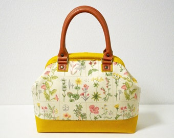 Doctors bag - real leather handles - Cottage Floral, medium weight cotton in yellow brown - handbag, small, woodland.