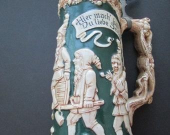 Antique large lidded beer stein- Das Gnomenfest -circa 1900