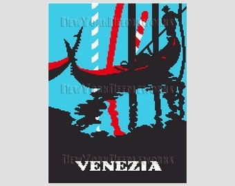 Venezia Poster Cross Stitch, Venice Cross Stitch, Italy Cross Stitch, Venice Silhouette, Cross Stitch, Silhouettes from NewYorkNeedleworks