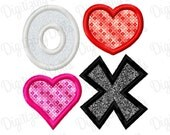Digitizing Dolls Valentines Day XO Heart Applique Embroidery Design 3x3 4x4 5x5 6x6 INSTANT DOWNLOAD