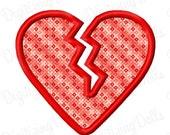 Digitizing Dolls Valentine Broken Heart  Applique Machine Embroidery Design 4x4 5x7 6x10 Heartbreaker Heartbroken INSTANT DOWNLOAD