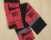 Bold black graphic on paprika red, reversible vintage Japanese kimono silk scarf