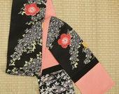 Red poppy on black, reversible Japanese kimono silk scarf