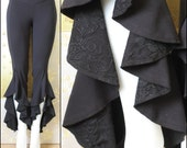 Burning Man Hula Hoop Festival Ruffle Pants in Black Bamboo with Lace Detail
