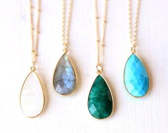 Stunning Long Custom Gemstone Drop Necklace // 14K Gold Filled Custom Chain // Simple everyday layering jewelry // Bridesmaids Jewelry Set