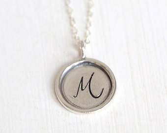 Personalized Large Cursive Initial Monogram Engraved Layering Necklace // Sterling Silver// Bridesmaid Gift Necklaces
