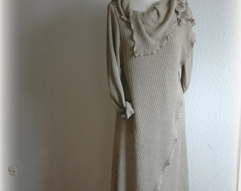Grey Knitted Cardigan Sweter Coat With Linen  Eco Friendly Clothing Unique Fashion Natural