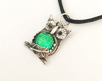 Silver Owl Pendant Necklace with Dichroic Glass