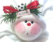 SOCCER ORNAMENT Ball Christmas Townsend Custom Gifts Red Ribbon Personalized Player Number Option