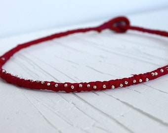 Red fabric necklace, wine red rope necklace, burgundy fabric necklace with silver beads, chic necklace, gift for her