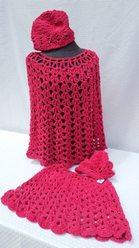 Raspberry suede mother/daughter crocheted poncho and beret - READY TO SHIP