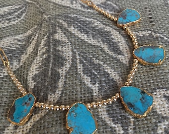 Turquoise Nuggets and Gold Filled Bead Necklace