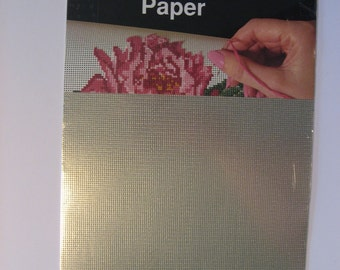Stitchable Paper. 14 count perforated paper. Silver. 2 sheets 9.5 by 12 inches. Metallic silver.