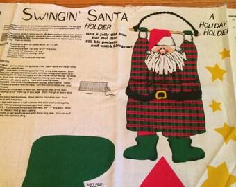 Vintage cut stuff and sew Fabric panel Hanging SANTA decor