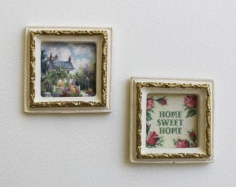 Miniature Framed Home Sweet Home Shabby Cottage Wall Decor 1:12 Scale