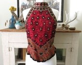 S, M 90s top, halter, beaded red silk with black and gold daisies