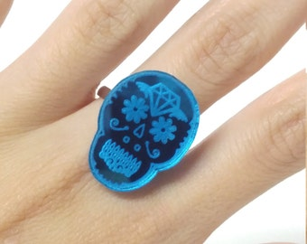 Blue Mirrored Engraved Sugar Skull  Acrylic Adjustable Statement Ring ON SALE