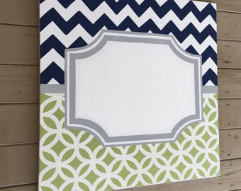 SALE - large 30x30 personalized custom canvas to match your child's decor- green navy grey chevron boys nursery art