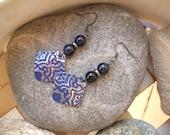 Blue Goldstone Boho Style Embossed Gunmetal Vintaj Blue Patina Dangle Earrings