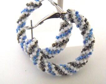 Spiral white and blue hoop earrings, blue earrings, woven beaded glass earrings, beaded blue jewelry