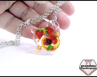 Handmade Sweets Teapot Necklace, Tea Party, Strawberries, Fruit Tart Necklace.