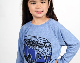 Ready To Ship!!!! Vintage Van On Children's American Apparel Pullover Tri Blend Blue 2T, 4T, 6T, 8Y, 10Y, 12Y