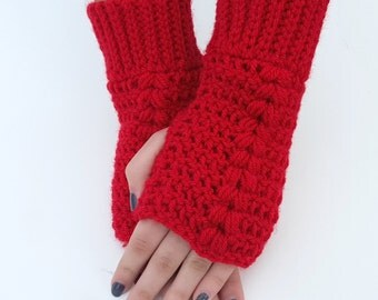 Texting Gloves - Cherry Red Fingerless Mittens - Cherry Red Fingerless Gloves