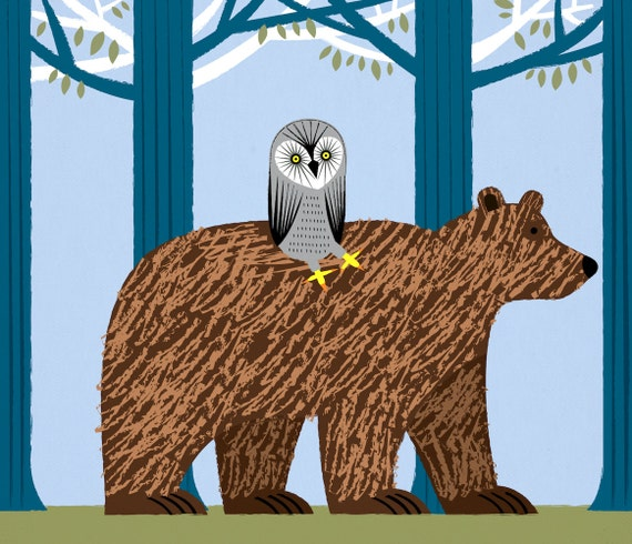 The Owl and The Bear - Animal Art - Children's Limited EditionArt Poster Print by Oliver Lake - iOTA iLLUSTRATION