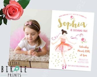 BALLERINA INVITATION, Ballet birthday invitation, Ballerina birthday invitation, Ballet invitation, Pink and Gold Ballet Invitation, Glitter