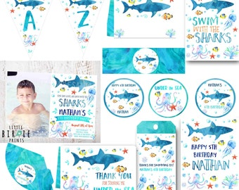 SHARK Birthday invitation and printable pack - Shark Invitation Shark Birthday Party Printables - Decorations Banner Cupcake Toppers Favor