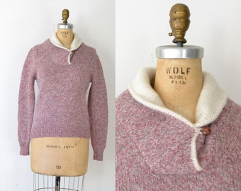 Vintage Shawl Collar Sweater / Pink Wool Sweater