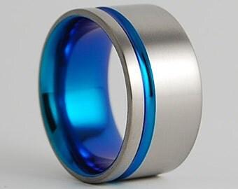 Mens Titanium Ring ,  Atlas in New Beginning Blue