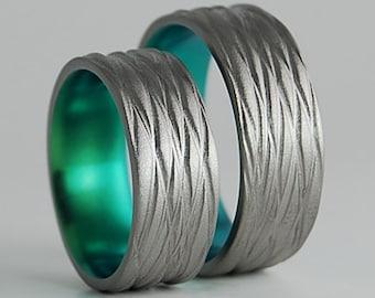 Titanium Rings , Wedding Bands , Titanium Wedding Band Set , Titanium Wedding Ring Set , The Sphinx Bands in Immortal Green