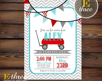 Little Red Wagon Birthday Party Invitation - Red and Aqua Party Invitations - Boys 1st Birthday Party Invites