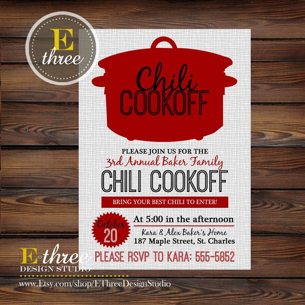 Chili Cookoff Invitations Fall Party Invitations Fall