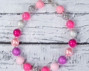 Pink Bubblegum Necklace/ Bubblegum Necklace/ Chunky Necklace/ Toddler Necklace/ Baby Necklace/ Hot Pink Necklace/ Chunky Bead Necklace