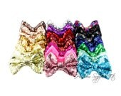 Large Sequin Bows 4 inch Bows - Bow Applique, Sequin Bow, Large Bows, Big Bows, Wholesale Bows, Sequin Bow Tie, Sequin Bow Headband